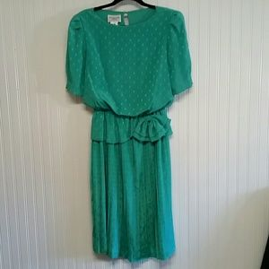Vintage Dim the Lites Green Dress